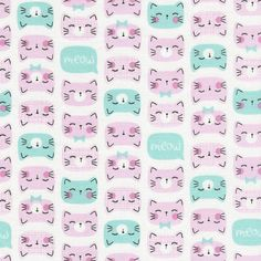 Cat Faces in Pink by Timeless cat faces on white cotton fabric Cute Wallpaper Backgrounds, Cute Wallpapers, Handi Quilter, Timeless Treasures Fabric, Pink Cat, Color Rosa, Cool Fabric, Cat Face, Fabric Design