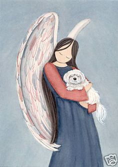 Angel and white puppy /  by Lynch signed folk art-watercolorqueen via Etsy.