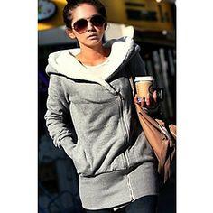 Women's Asym Zipper Hoodie Coat