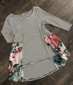Striped Floral HI-Low Tunic Shannasthreads.com