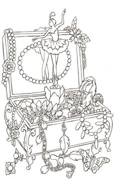 Jewlery Coloring Pages Blank Coloring Pages, Coloring Book Art, Printable Coloring Pages, Coloring Pages For Kids, Colorful Drawings, Colorful Pictures, Diy Y Manualidades, Digital Stamps, Ballet