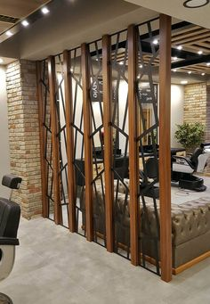 45 Brilliant Partition Wall Design Ideas To Blow You Away - Engineering Discoveries Home Room Design, Home Interior Design, Living Room Designs, Room Interior, Living Room Partition Design, Room Partition Designs, Partition Ideas, Partition Walls, Living Room Mirrors