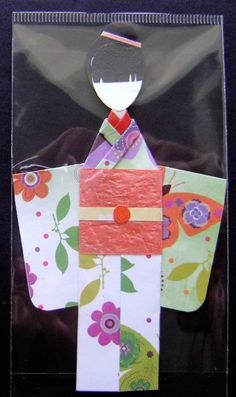 Orange Green Floral Garden Japanese Origami Kimono Doll Bookmark Asian Oriental Birthday Gifts Handmade OOAK