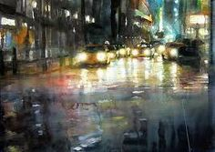 Image result for watercolor paintings rainy nights