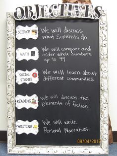 Objectives Board...could use for high school!