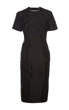 Short-Sleeved Curved-Hem Silk Dress by Thom Browne Now Available on Moda Operandi