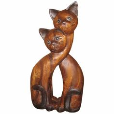 Approx 40 cm tall by19 cm wide Solid Suar Wood Hand made from sustainable timber and fair trade Beautuful hand carved pair of cats with their necks