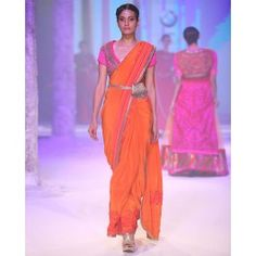 Monarch Orange Sari with Embroidered Blouse