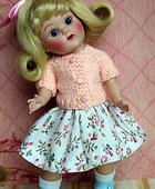 "~Peach Parfait~...a sweet handknit sweater and skirt set for 7.5"" Vogue Ginny Dolls. On www.karmelapples.com now."