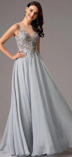 Elegant Lace Applique Grey Formal Dress