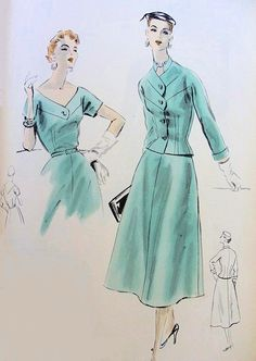 1950s DRESS, FITTED JACKET PATTERN LOVELY WIDE V NECKLINE BEAUTIFUL STYLE VOGUE COUTURIER DESIGN 751