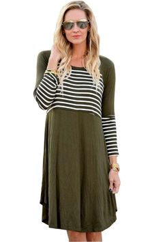 Women Clothing Designers The Best Olive Chic Blocked Stripe Jersey Dress New Style Tops, Striped Jersey, Casual Chic Style, Trendy Tops, Unique Fashion, Fall Fashion, Striped Dress, Dress Up, Chic Dress