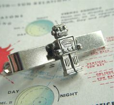 Robot Tie Clip Silver Plated Men's Accessories & Gifts Handcrafted By Cosmic Firefly Las Vegas. $15.00, via Etsy.