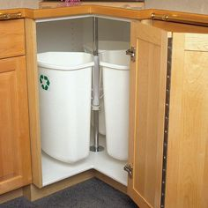 """The best use for a """"lazy susan"""" type corner cabinet ever! Recycling Center Rotary Mounts to Cabinet Door 3 Bins 32 Quarts White Recycling Center, Recycling Bins, Kitchen Organization, Kitchen Storage, Kitchen Corner Cupboard, Small Kitchen Pantry, Kitchen Organizers, Cabinet Organizers, Skinny Kitchen"""