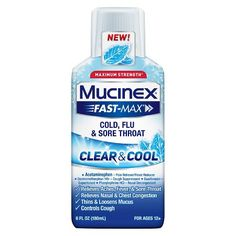 MUCINEX® FAST-MAX® Clear & Cool Adult Liquid - Cold, Flu, & Sore Throat 6 oz. : Target