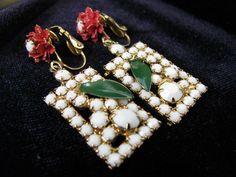 Vintage Milk Glass and Enamel Dangle Earrings by ToadSuckTreasures, $25.00