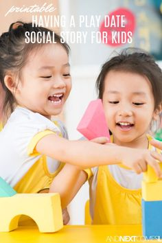 Looking for social stories for kids? This playdate social story for kids is all about having a friend over for a play date Social Skills Lessons, Social Skills Activities, Teaching Social Skills, Sensory Activities, Autism Parenting, Printable Activities For Kids, Autism Resources, Social Stories, Children With Autism