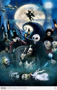 Tim Burton's movies in a painting. Not creepy creepy but Tim Burton Kewlness. Arte Tim Burton, Tim Burton Stil, Tim Burton Kunst, Film Tim Burton, Estilo Tim Burton, Tim Burton Characters, Burton Burton, Fictional Characters, Nightmare Before Christmas