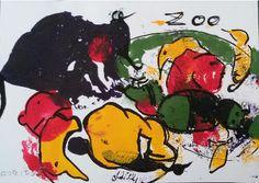illustrated postcardszooSmall PaintingAcrylicSurreal