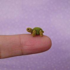 Miniature crochet turtle.