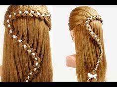 ▶ Прическа с плетением: Коса из 4-х прядей с лентой. 4 Strand Braid Hair With Ribbon - YouTube