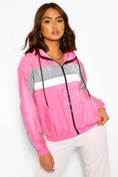 Vintage Jackets, Retro Style Jackets Womens Stripe Panel Hooded Windbreaker - Pink - 12 $19.60 AT vintagedancer.com Duster Cardigan Sweater, Wrap Sweater, Leather Trench Coat, Leather Blazer, Womens Windbreaker, Windbreaker Jacket, Long Overcoat, Plastic Raincoat, Vintage Jacket