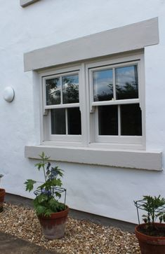 Timber Slimline Sliding Sash Windows - Bishop Auckland, Durham, North East - Timber Sash Windows in County Durham - Blackthorn Timber Upvc Sash Windows, Timber Windows, Windows And Doors, Front Doors, Cottage Windows, House Windows, Grey Window Frames, Rendered Houses, Different House Styles