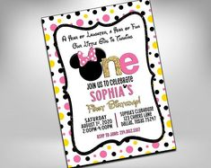 Minnie 1st birthday invitation, Pink Gold Black, First Birthday invitation, Minnie Mouse Camo Birthday, Hunting Birthday, 2nd Birthday Parties, Friend Birthday, 1st Birthday Invitations, Pink Invitations, Invites, Hawiian Party, Hot Wheels Party