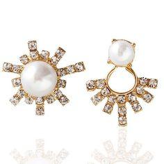 Earrings designer asymmetric earrings sun flower artificial pearl rhinestone earrings for women #earrings #14k #gold #earrings #diamond #drop #earrings #on #etsy #w #germany #earrings