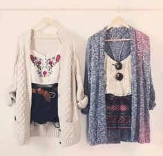 Two classy hipster outfits.