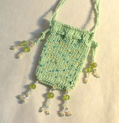 Amulet Bag Knitted Beaded by JanePriserArts on Etsy, $24.00