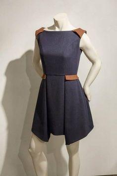 Robe Gisèle doublée sans manche, lainage et coton  : Robe par charlie-et-stone