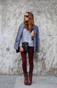 Look: burgundy jeans - María - Trendtation