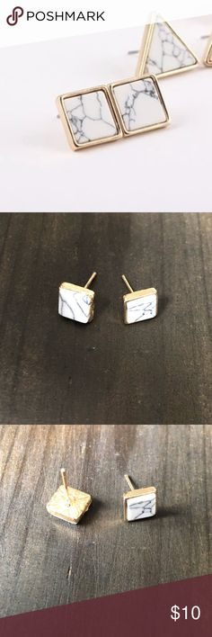 Square Faux White Marble Post Earrings Dainty marble look earrings with gold tone metal. Costume jewelry Jewelry Earrings