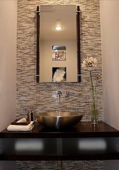 Modern Powder Room Small Bathroom Design, Pictures, Remodel, Decor and Ideas Powder Room Design, Wall Mount Faucet, Chic Bathrooms, Half Bathrooms, Natural Home Decor, Glass Mosaic Tiles, Mosaic Wall, Modern Room, Modern Spaces