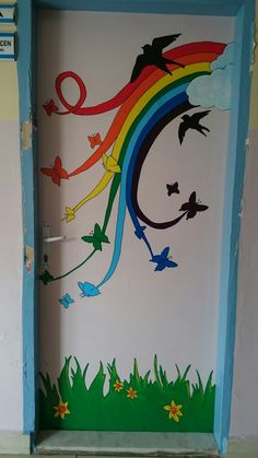 What a lovely door! School Door Decorations, Safari Decorations, Rainbow Decorations, Class Decoration, Diy And Crafts, Crafts For Kids, Paper Crafts, School Doors, Classroom Door