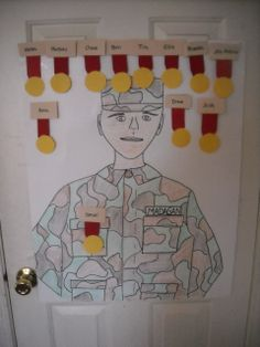 Army Birthday Party Ideas - Pin the medal on the soldier (definitely get an nice printout though instead of drawing one though)