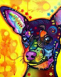 The colorful pallet on this Chihuahua dog art print is outstanding! Chihuahua art make fantastic surprise gifts for friends and family members who love their Chihuahuas, and a prized addition for t . Chihuahua Tattoo, Chihuahua Art, Dachshund, Dog Paintings, Dog Art, Animal Drawings, Pet Portraits, I Love Dogs, Art Lessons