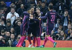 Lionel Messi of FC Barcelona celebrates his goal with Neymar Jr and Luis Suarez during the UEFA Champions League match between Manchester City FC and...