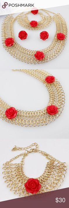 Necklace, Earrings, bracelet set Necklace, Earrings, bracelet set red and gold 3 pieces fashion Necklace Earrings Bracelet set  Material: zinc alloy+18K Gold Plated  Necklace length:  520mm  Necklace pendant Size:25mm x 25mm  Earring size: 20mm x 18mm  Bracelet length:  250mm Jewelry Necklaces
