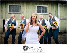 {Mike + Kristi} at Rogue Hopyard in Independence, Oregon. Fun idea, Bride with Groomsmen