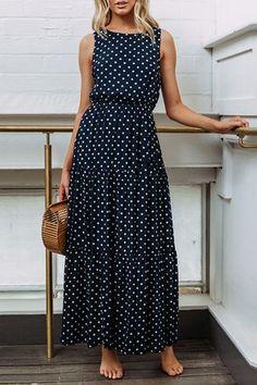 Frigirl Dots Printed Navy Blue Maxi Dress #Summer2018  #bohochic affiliate