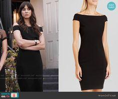Spencer's black off-shoulder dress on Pretty Little Liars.  Outfit Details: https://wornontv.net/55411/ #PLL