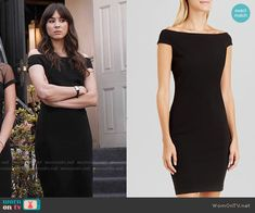 Spencer's black off-shoulder dress on Pretty Little Liars.  Outfit Details: https://wornontv.net/55411/ #PLL