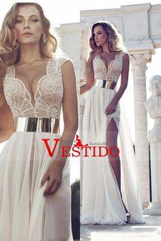 2016 cuello en V con cuentas blusa de gasa vestidos de baile Una Línea Con Banda Y hendidura                                                                                                                                                                                 Mais