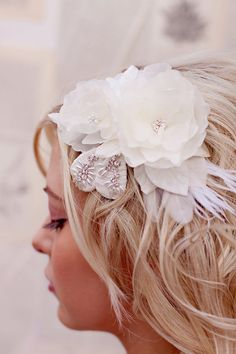 Wedding hair piece ivory flower bridal headpiece by florabond Floral Headpiece, Headpiece Wedding, Bridal Headpieces, Fascinators, Wedding Hair Clips, Wedding Hair Pieces, Bridal Hair Flowers, Silk Flowers, Blue Flowers