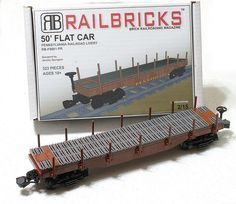 RAILBRICKS 50' Flat Car | Flickr - Photo Sharing! Lego City Train, Lego Trains, Lego Truck, Lego Ship, All Lego, Lego Modular, Lego Design, Lego Worlds, Model Train Layouts