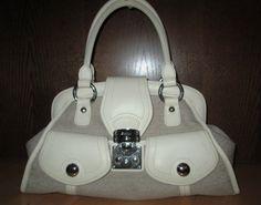 * * * DKNY Tasche creme Logostoff mit Leder * * * Clutch, Logos, Creme, Beige, Ebay, Fashion, Clothing Accessories, Hand Bags, Leather