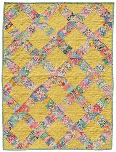 Vintage yellow quilt - 1930's reproduction feedsack quilt, 1930's fabrics, feedsack fabrics