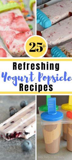 25 refreshing Yogurt Popsicle recipes - Pixie Dust Savings (Best of) - Blueberry Yogurt Popsicles, Frozen Yogurt Popsicles, Breakfast Popsicles, Pineapple Popsicles, Healthy Popsicles, Homemade Popsicles, Popsicle Recipe For Kids, Popsicle Recipes, Frozen Desserts